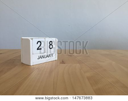 January 28Th.january 28 White Wooden Calendar On Wood Background.copyspace For Text.