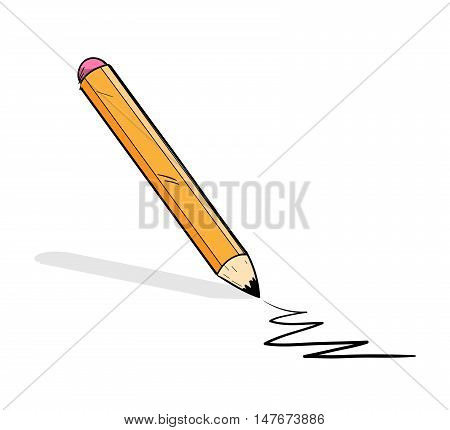 Pencil Journalism Concept. A hand drawn vector doodle illustration of a pencil.