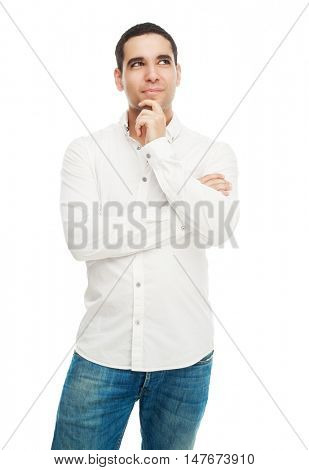happy thoughtful young man, isolated against white studio background
