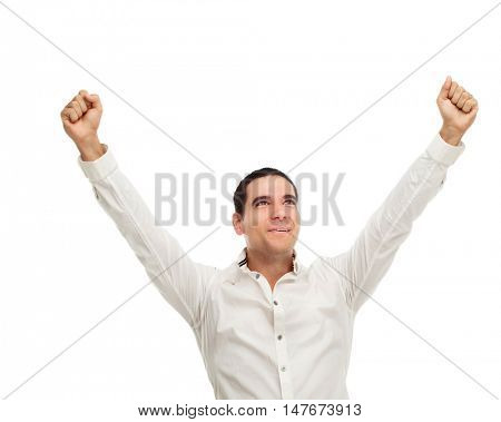 happy successful young man, isolated against white studio background