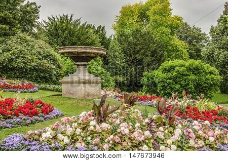 Fountain on grounds of gardens in Royal Victoria Park in Bath, England.