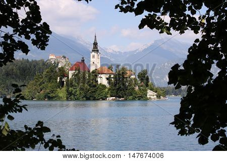 Lake Bled Island Church framed by some trees on the mainland shore