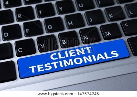 CLIENT TESTIMONIALS a message on keyboard man hand top view use computer