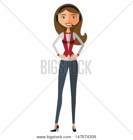 Customer service. Beautiful woman working in a call center flat cartoon vector illustration. Eps10. Isolated on a white background.