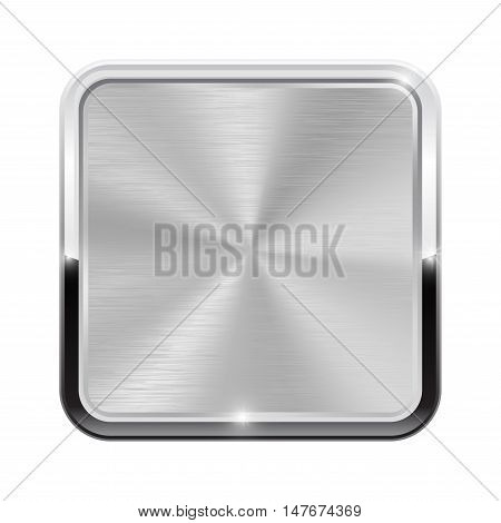 Metal brushed button with chrome frame. Vector illustration isolated on white background