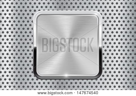 Metal button with chrome frame. On perforated background. Vector illustration