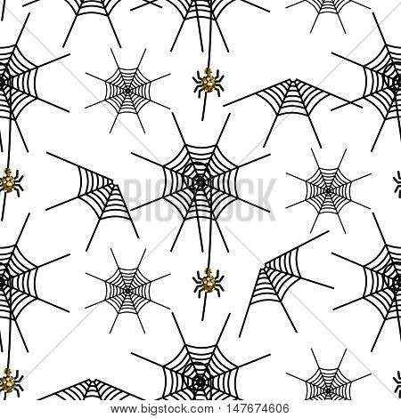 Halloween spider net vector pattern. Black and gray spooky background with glitter spider.