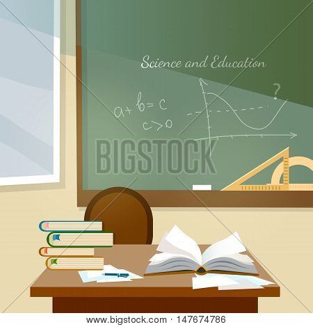 Education background classroom interior school book on desk education back to school flat vector illustration