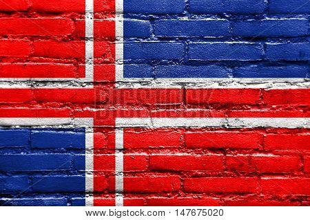 Flag Of Gori, Georgia, Painted On Brick Wall