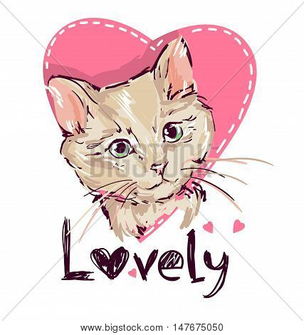 Love cats, cat, kitten, cute cat sketch vector illustration, print design cat