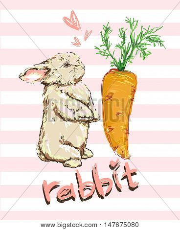 Rabbit with carrot vector illustration. Cute Bunny.