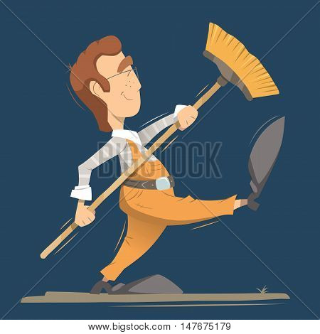 Happy smile man cleaner worker holding broom. Professional cleaning service illustration. Isolated bright color vector character.