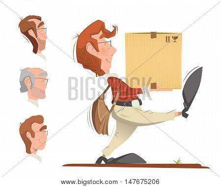 Courier postman holding and carrying carton cardboard box. Delivery service color vector illustration.