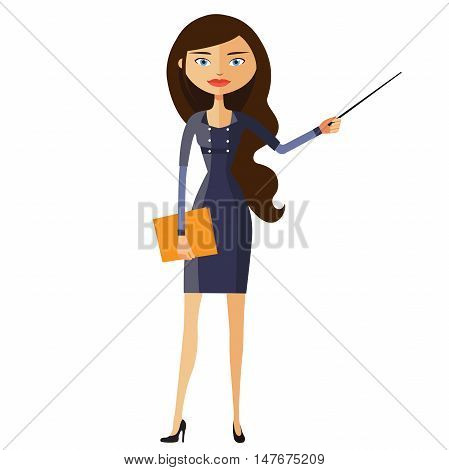 Teacher with a pointer. Young business woman presenting something. Tutor character flat cartoon vector illustration. Eps10. Isolated on a white background.