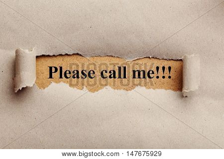 Torn brown paper for text, please call me