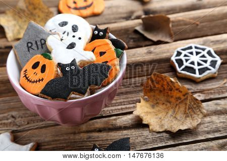 Fresh Halloween Gingerbread Cookies On Brown Wooden Table