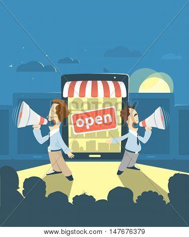 E-shop online store internet shop promotion advertisement presentation illustration. Grand opening.