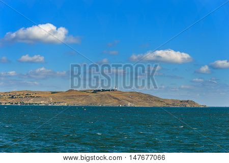 The lighthouse on the Crimean coast of the Kerch Strait