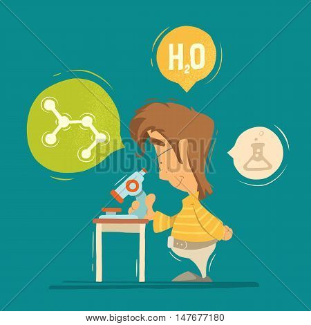 School chemistry lesson colorful vector illustration. Young schoolboy boy child kid pupil holding using microscope.