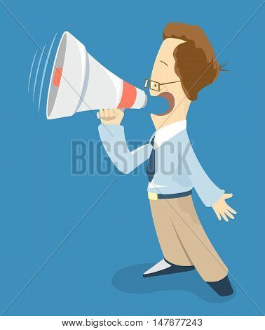 Young smart man promoter holding megaphone loudspeaker. Creative concept. Promotion business illustration. Funny character style. Website social media online shop promotion illustration.