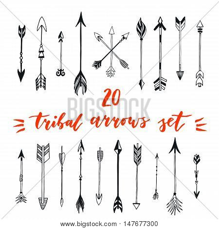Tribal arrows set. Different native american arrows collection. Decorative vector stylized illustration of booms. Design elements for packaging books textile. Painted arrows boho style.
