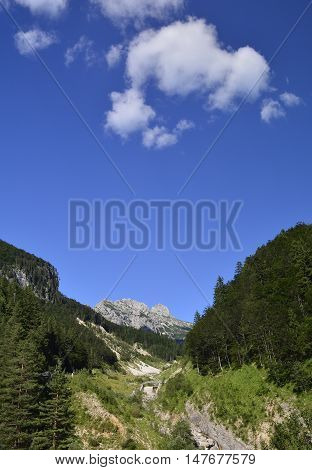 The Slovenian side of the Italian Slovenian border close to Mangrt mountain the third highest peak in Slovenia