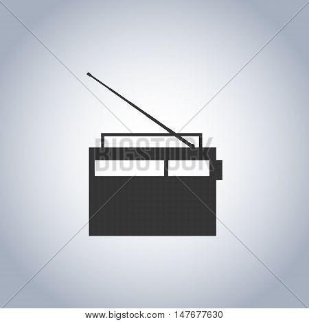 Gray icon retro radio isolated on white background digital device design element vector illustration.