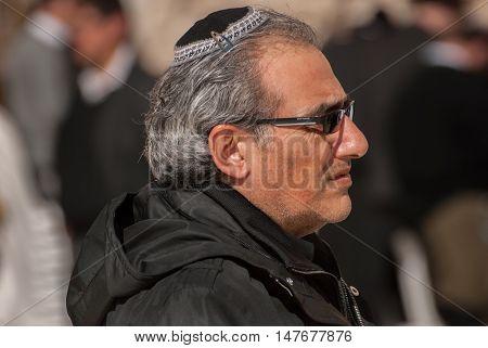 Jewish Man Near The Western Wall .jerusalem. Israel