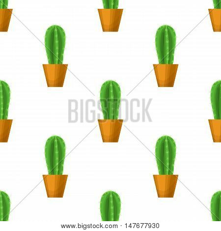 Cactus in pot - floral seamless pattern. Prickly pear - cute succulent plant on white. Green garden background. Summer nature illustration with mexican houseplant in cartoon style