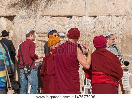 Buddhist Monks Near The Western Wall. Jerusalem. Israel