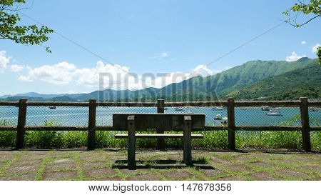 Outdoor Wooden Fence, Bench, Mountain