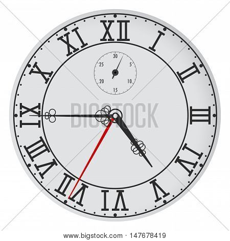 Clock with roman numerals. Vector illustration isolated on white background