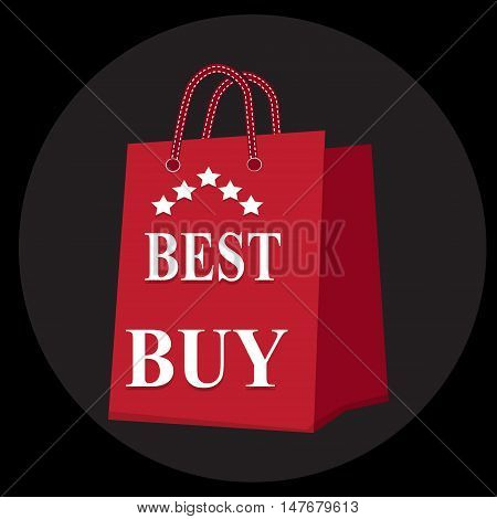 Shopping paper bag with best buy sale tag icon sign vector illustration