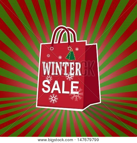 Shopping paper bag with winter sale tag icon on sunburst pattern red and green background