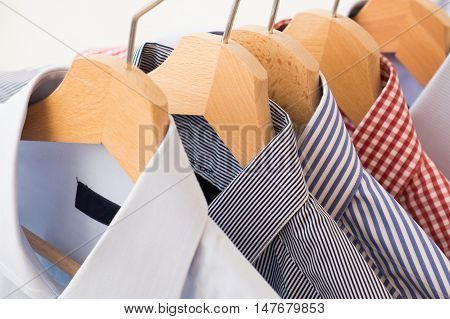 Shirts in several colors and textures in wardrobe