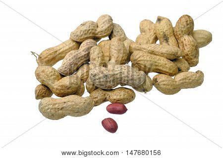 Dried Peanuts In Closeup Isolatd On White