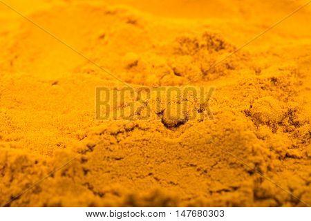 Saffron  fresh spice powder cooking closeup background