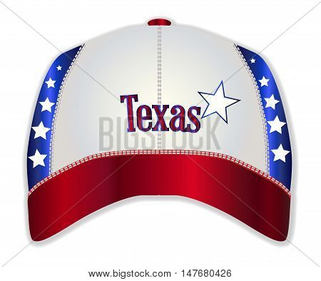 A red white and blue typical baseball cap with Texas and star as the logo logo