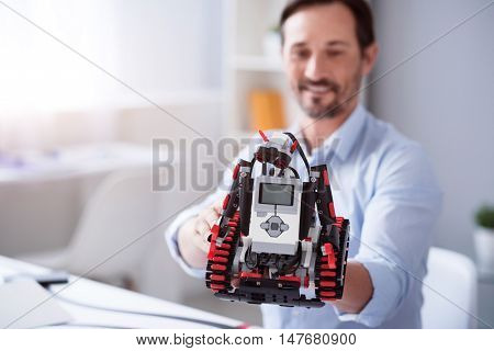 Amazing results. Happy scientist presenting his new work in robotics technology
