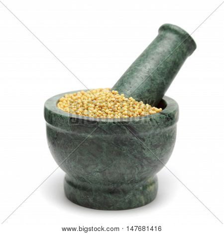Organic Yellow Mustard (Brassica alba) on marble pestle. Isolated on white background.