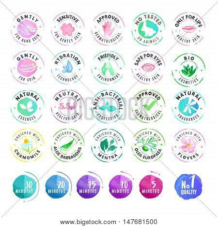 Set of hand drawn watercolor stickers for cosmetics. Vector illustrations for graphic and web design, for cosmetic products, natural products, skin care, makeup.