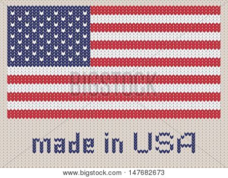 American flag knitted pattern made in USA. Modern vector ornament wool knitted texture banner of United States. Flat knitted standard Stars and Stripes design element for sites. Hand made flag.