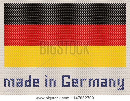German flag knitted pattern made in Germany. Modern vector ornament wool knitted texture banner of Germany. Flat knitted standard design element for sites. Hand made flag.