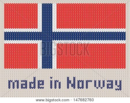 Norwegian flag knitted pattern made in Norway. Modern vector ornament wool knitted texture banner of Norway. Flat knitted standard design element for sites. Hand made flag.