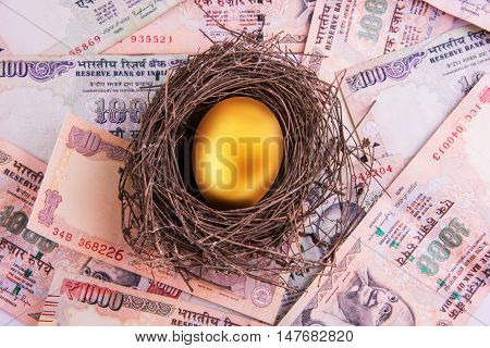 A golden egg sitting in a nest full of cash including indian 1000 rupee currency notes