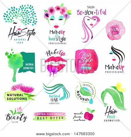 Hand drawn watercolor signs for beauty and cosmetics. Vector illustrations for graphic and web design, for cosmetic products, natural products, hair care, makeup, beauty center, spa and wellness.