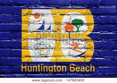 Flag Of Huntington Beach, California, Usa, Painted On Brick Wall