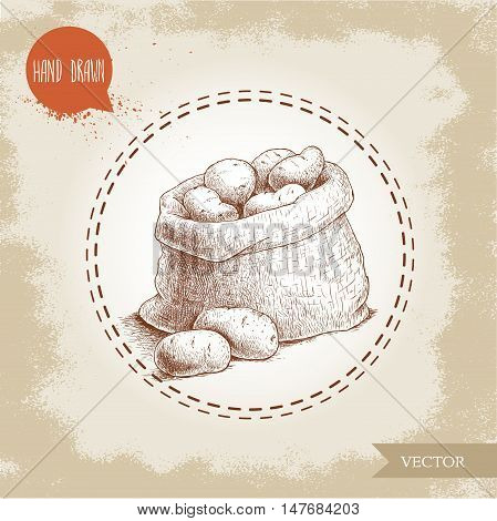 Hand drawn sketch style illustration of ripe potatoes in burlap bag. Eco food vintage vector illustration