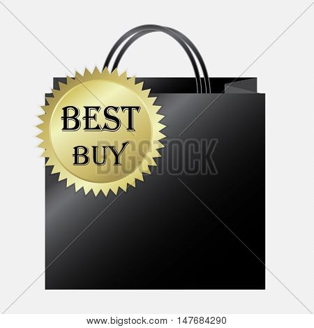 Shopping paper bag with best buy label icon