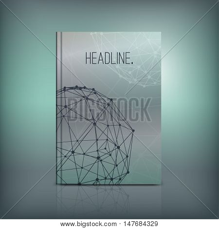 Vector abstract brochure cover template. Modern background for poster, print, flyer, book, booklet, brochure and leaflet design. Editable graphic image in silver, grey and white metallic colors